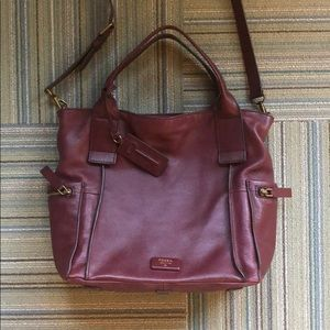 Oxblood leather Fossil satchel